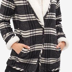 Tribal Jeans Black & White Plaid Sweater Jacket